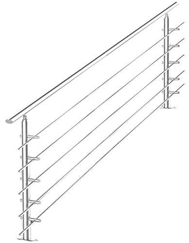 V2Aox Treppengeländer Edelstahl Handlauf Geländer Balkongeländer Aufmontage Treppe, Länge:200 cm, Anzahl Streben:5