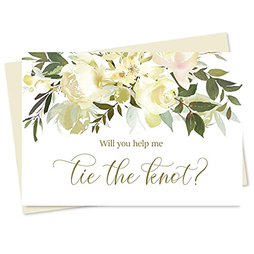 Set of 10 Floral Wedding Party Proposal Cards, Will You Help Me Tie the Knot Cards and Matching Envelope Seals, Blank Cards to propose to Bridesmaid, Matron of Honor, Maid of Honor, Flower Girl