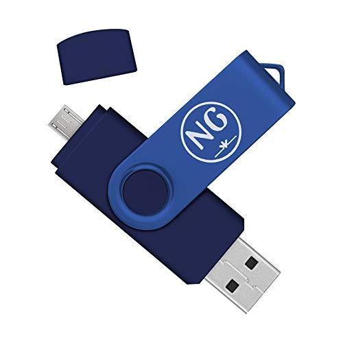Almacenamiento Externo de Dispositivos Android/PC/Tablet/Mac/Ordenador Pendrive 16 GB Dual NG Memoria USB 16 GB 2.0 (Azul, 16 GB 2.0, 1 Unidad)