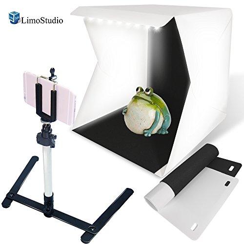 LimoStudio, AGG2229, LED Light Portable Mini Photo Shooting Box Tent, Foldable Lighting Box Kit Table Top Mini Light Stand, Cellphone Smart Phone Clip Holder, Commercial Product Shooting, Photo Studio