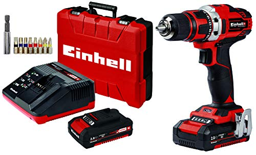 Einhell 4513910 TE-CD 18/40 Li (2x2,0Ah) Akku-Bohrschrauber, schwarz/rot