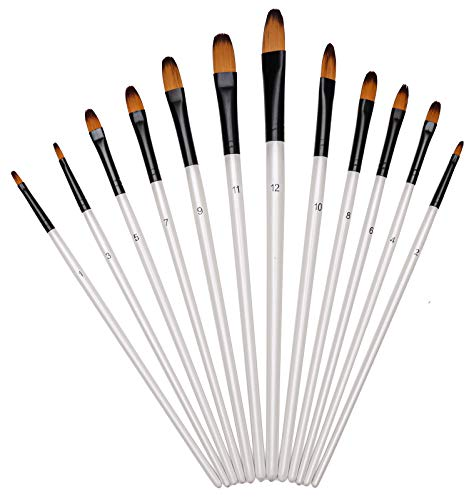 Paint Brushes Set, Professional Filbert Tipped Brushes 12 pcs Nylon Hair Artist Acrylic Paintbrushes, Watercolor Acrylic Oil Crafts Miniature & Rock Painting Face Painting and Gouache Nail Art