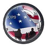 Perillas para cajones Vidrio redondo de cristal Tiradores de armario, 4 piezas,Rangers Rifle Bandera Americana