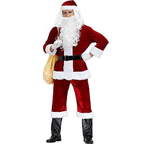 FYHCY Traje de Papá Noel Disfraz Disfraz de Papá Noel para hombre, disfraz de Cosplay de Navidad de talla grande para adultos, disfraz de actuación escénica A,XXXL