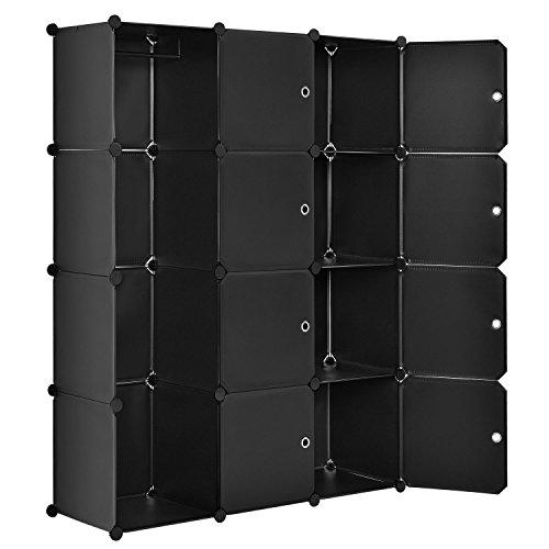 Juskys DIY Regalsystem aus 12 Boxen inkl. Kleiderstange | 8 Fächer mit Tür | 10 kg pro Box | Kunststoff | schwarz | Schrank Kleiderschrank Schuhschrank