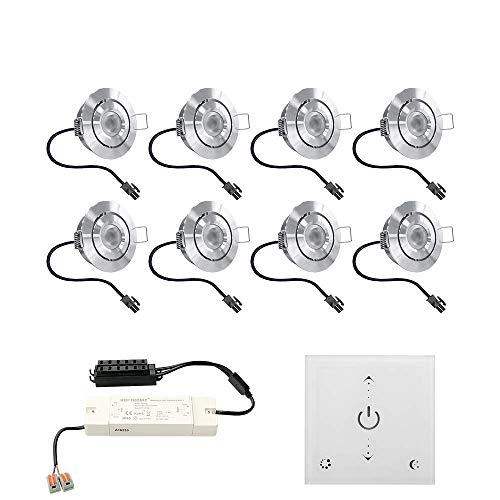 Juego de focos LED empotrables Granada, 8 x 3 W, inclinables, IP44, resistente a la humedad, incluye regulador de pared táctil y mando a distancia