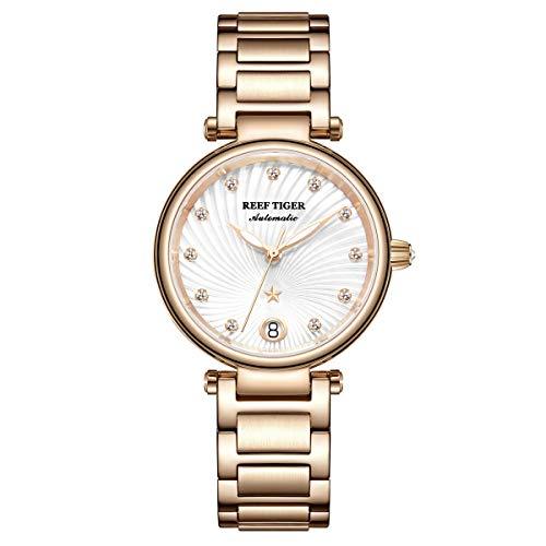 Reef Tiger Damen-Armbanduhr Analog Automatik mit Rotgold Armband RGA1590-PWP