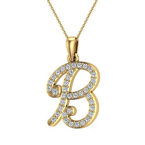 Collana con lettera iniziale per ragazze collane con diamanti da donna e uomo, catena in oro 18 carati, confezione regalo e Oro giallo, colore: bianco, cod. AGDPMP1059_YG_B