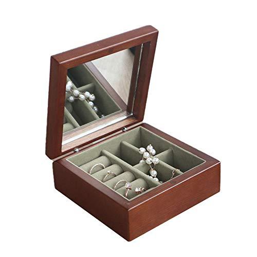 Caja De Almacenamiento De Joyas,Aretes De Viaje Anillos Collares Portátiles De Madera Cajas De Joyería,Con Espejo O Gancho Dos Tipos,11X11x5cm,B