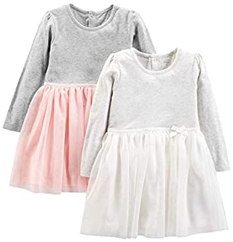 Simple Joys by Carter s Girls  Toddler 2-Pack Long-Sleeve Dress Set with Tulle Pink/Gray 4T