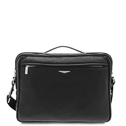 GIUDI ® - Herrenmappe, Herrentasche, Schultergurt, echtes Leder, Kalbsleder, Made in Italy, 15 Zoll Notebooktasche, Schwarz (Schwarz) - 10420/T/AE