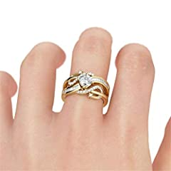 Jeulia Women 1.5 ct 14K Gold Plated Wedding Ring Set 925 Sterling Silver Gone Tone Engagement Rings Round Cut Cubic Zirconia Twist Band Ring Anniversary Promise For Her Teen Girls (Gold, S-½) #3