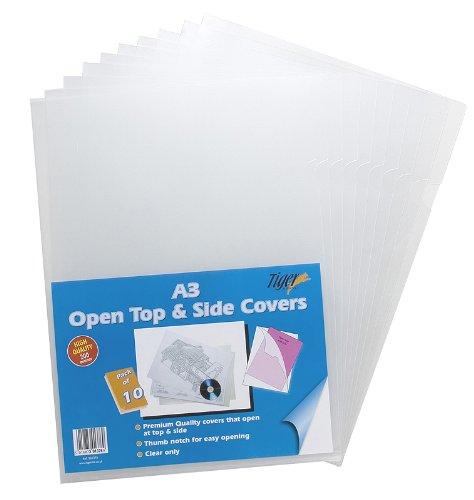 Klarsichthüllen, Kunststoff, obige und seitliche Öffnung, klar, Format: DIN A3, 10 Stück