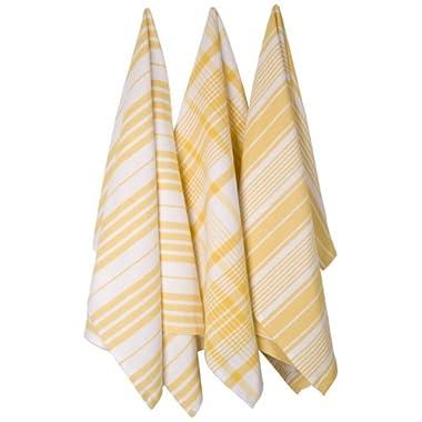 Now Designs Jumbo Pure Kitchen Towel Set of 3, Lemon Yellow