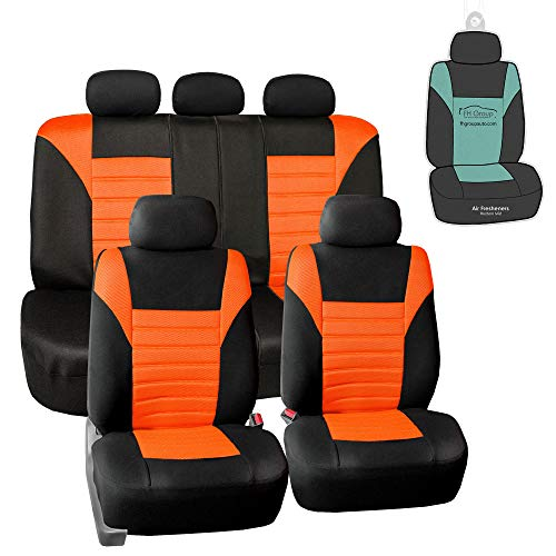 FH Group FB068115 Premium 3D Air Mesh Seat Covers (Orange) Full Set with Gift - Universal Fit for Cars, Trucks & SUVs