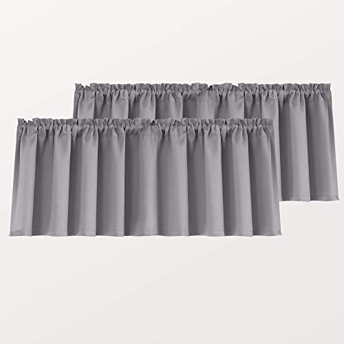 Gray Window Valances for Small Basement Windows Rod Pocket 2 Pack Blackout Short Curtain Valances for Kitchen Bathroom 52 x 18 Inch Length Light Grey