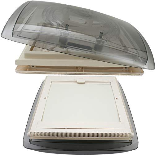MPK VisionVent M getönte Klarglas Dachluke Dachfenster Dachhaube Caravan Wohnmobil Wohnwagen 40 x 40 cm + Rollo + Netz für Dachstärken von 42-70 mm