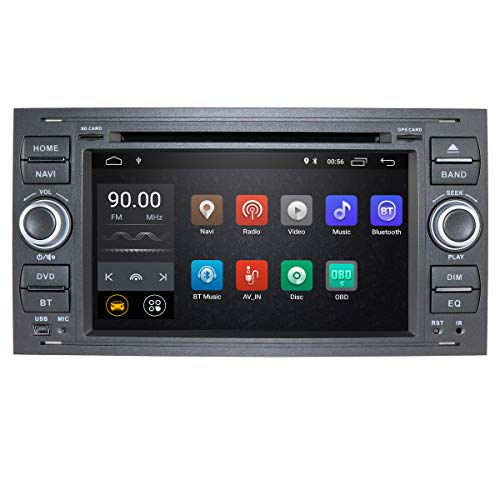 Android 10 Autoradio Double Din con sistema operativo per Ford C-Max/Connect/Fiesta/Focus, lettore DVD integrato + supporto telecomando Mirror-link Bluetooth WiFi 4G EQ DVR SWC RDS (Nero)