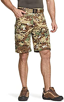 CQR Mens Hiking Tactical Shorts, Quick Dry Fishing Shorts, Lightweight Outdoor Rip-Stop EDC Assault Cargo Short, Urban Tactical Driflex(txs414) - Utility Camo, 38
