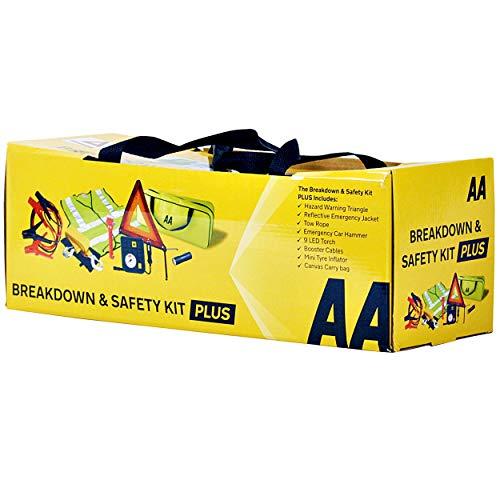 AA AA5618 - Kit de Seguridad para Averías de Coche, Compresor, Triángulo Emergencia, Cable Remolque y Arranque, Chaleco Reflectante, Linterna, Martillo para Romper Cristales, Bolsa de Almacenamiento