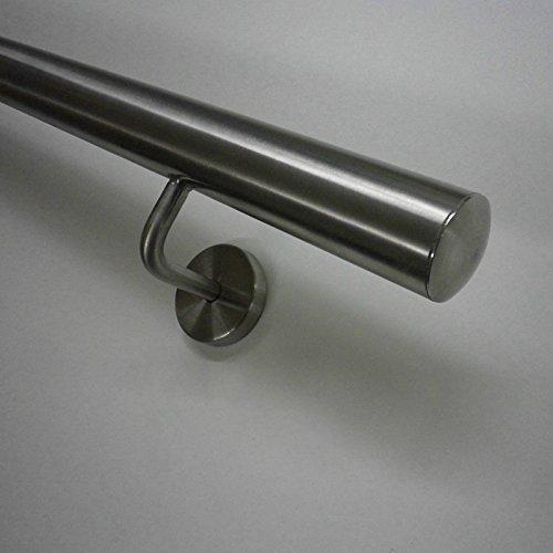 Edelstahl Handlauf Ø33,7mm mit gewinkelten Handlaufhaltern (geteilt über 2.6m) (320cm 4 Edelstahl-Halter)