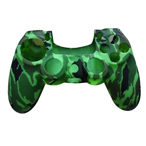 VORCOOL Silikon Schutzhülle Gehäuse für PS4 Controller (Camouflage Grün)