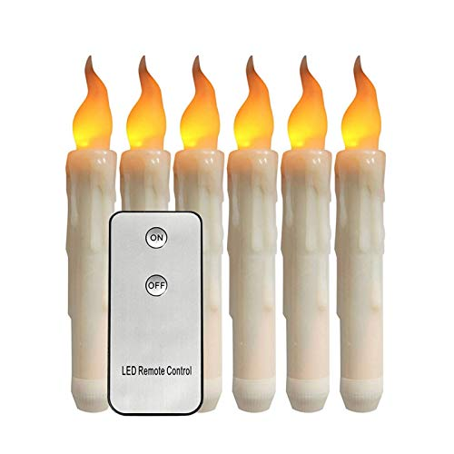 6 Flickering Flameless Candles With Remote Battery Operated Electronic Pillar Taper Candlesticks For Home Decoration For Wedding Birthday Churches Party Decorations (Color : Yellow light flicker)