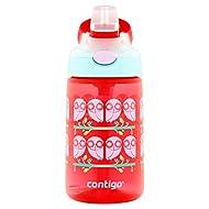 Contigo AUTOSPOUT Straw Gizmo Flip Kids Water Bottle, 14 oz, Ruby with Owls