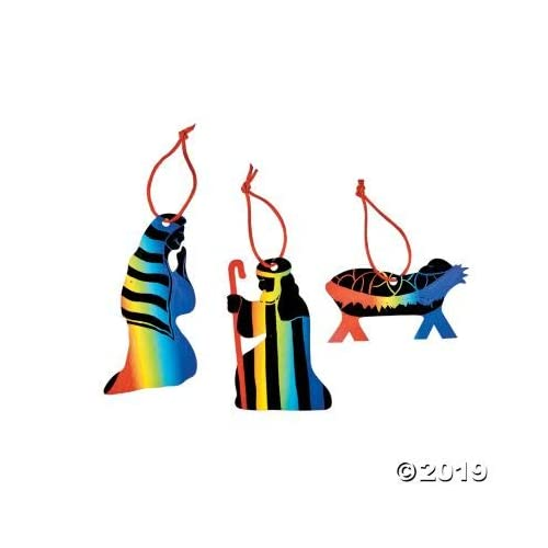 Magic Color Scratch Nativity Ornaments Religious Crafts /& Christmas Crafts Fun Express 48//9092