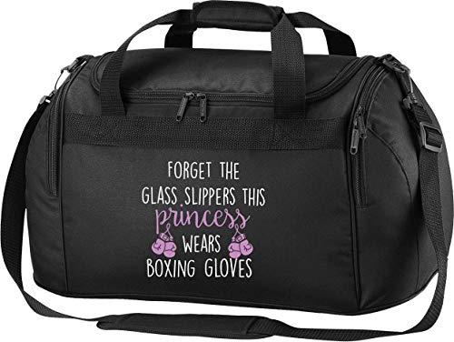 Flox Creative Schwarze Reisetasche mit Glaspantoffeln und Boxhandschuhen