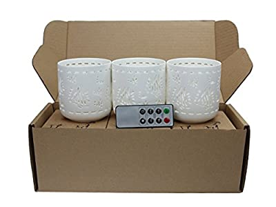 Ceramic Votive Flameless Candles With Remote Set Of 3