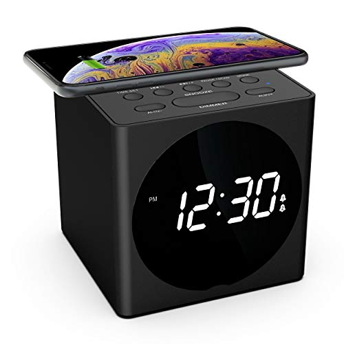 Wireless Charging Alarm Clock Radio for Bedroom, Wireless Charger Compatible iPhone X iPhone 8 with Bluetooth Speaker, USB Charging, FM Radio, Loud Alarm for Heavy Sleepers, 4 Dimmers, Snooze, Black