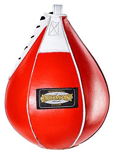Bad Company Profi Leder Boxbirne medium rot/Leder Speedball im 6 Elementen Design