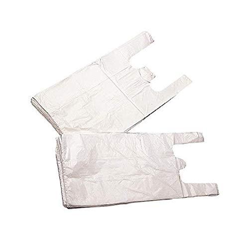 EUROXANTY Bolsas de Plástico Tipo Camiseta | Alta resistencia | Reutilizables y Reciclables | Material Polietileno de Alta Densidad | Con Asas | Apta para Alimentos (Blanco, 60 x 70-100 uds)