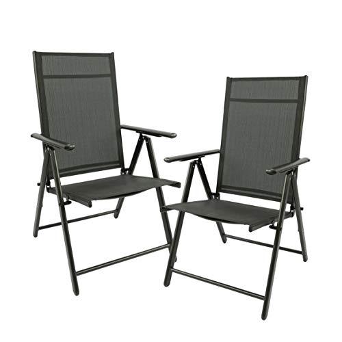 MaxxGarden Juego de 2 sillas plegables de jardín, sillas de camping plegables de aluminio y plástico, color negro