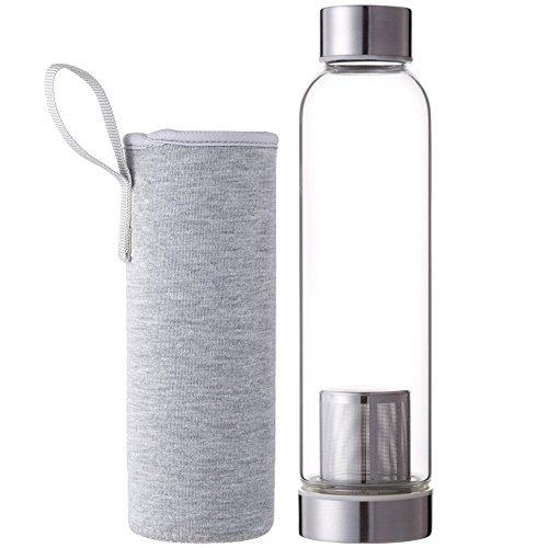 Demarkt Trinkflasche aus Glas 550ml Teeflasche aus Glas mit Tee-Sieb Sport Glasflasche Wasser Flasche mit Edelstahl Filter-Einsatz mit Nylon Tasche (Grau)