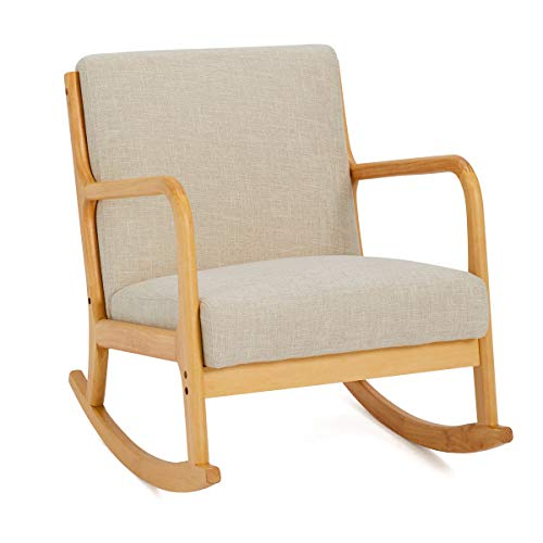 YOLENY Fabric Rocking Chair,Mid-Century Glider Rocker with Padded Seat,Wood Base,Linen Accent Chair for Living Room