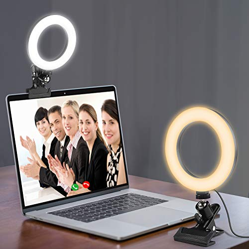Kit de iluminación de videoconferencia con clip y trípode 2 en 1 dispositivo para teléfono móvil con luz LED regulable para stream/YouTube/TikTok/fotografía compatible con iPhone y Android Phone