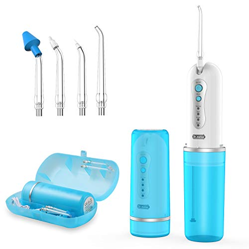 Portable Water Flosser, Dr.meter IPX7 Waterproof 4 Modes Rechargeable Oral Irrigator with 5 Multi-functional Jet Tips Cordless Teeth Cleaner for Travel and Home Use (Waterproof Case Included)