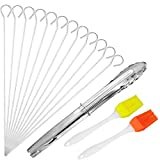 Xinstroe 12 pcs Stainless Steel Meat Skewers BBQ Barbecue Skewers, Brush Kitchen Silicone Basting Pastry Cooking Brushs and Stainless Steel Cooking Tongs for Meat Chicken