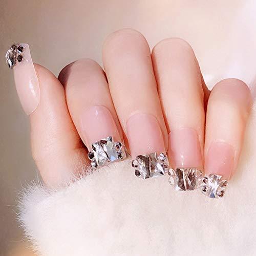 Fashband Pink False Nails Bling Strass Kristall Vollständige Abdeckung Fake Nail Tip Fashion Party Drücken Sie auf Nägel 24Pcs für Frauen und Mädchen.
