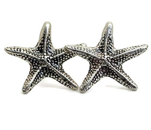Sterling silver starfish stud post earrings sea star nautical jewelry for women men (Stud earrings)