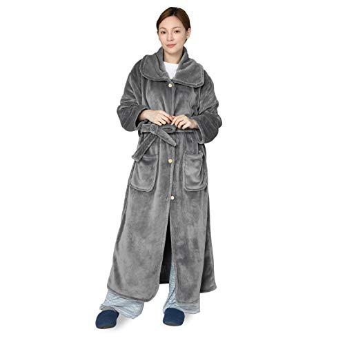 Bedsure 着る毛布 きる毛布 きるもうふ ルームウェア 部屋着 ガウン ゲーミング 防寒 着るブランケット ガウン かいまき マイクロファイバー 毛布 ブランケット グレー かわいい 135cm