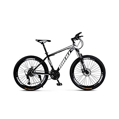 So-Cool 26 inch Mountain Bike, Mens and Womens Professional 21 Speed Gears Bicycle, Aluminum Full MTB Bike (White and Black)