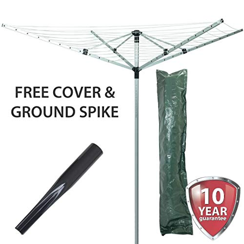 Marko Homewares 4 Arm 50M Rotary Airer Clothes Dryer Outdoor Laundry Washing Line & Ground Spike