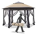 Outsunny 12' x 12' Outdoor Hexagonal Pop Up Gazebo with 6 Zippered Mesh Netting, Patio Double Roof Canopy with Strong Steel Frame