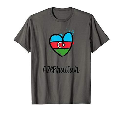 Azerbaijan Heart Flag Cool Eurasia Minimal Azerbaijani Gift T-Shirt