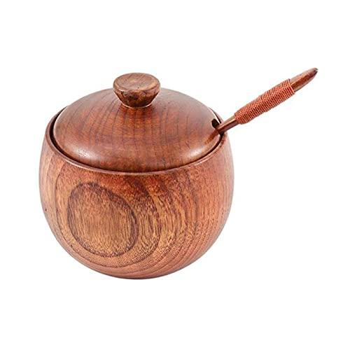 RUIXINLI Kochen Holzlöffel Gewürzer Glas und Löffel Sets Natürliches Holz Salzgefäß Küchengewürz Aufbewahrung Jar-Sauce-Topf mit Deckel Salt Shaker Box Dose Holzspatel zum Kochen