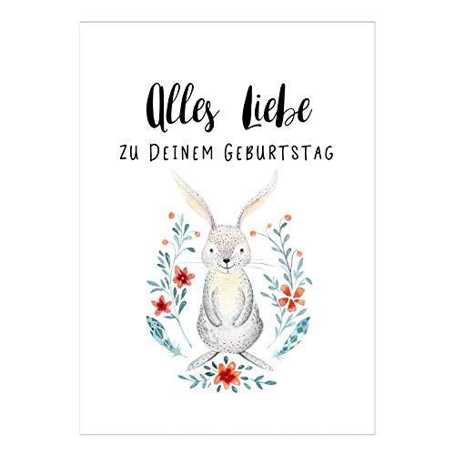 Große XL Design Glückwunsch-Karte zum Geburtstag mit Umschlag / A5 / Schlicht modern Hase mit Blumen Aquarell/Geburtstagskarte/Grußkarte