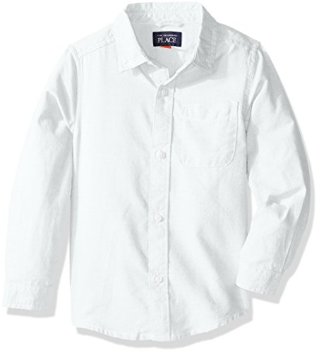 The Children's Place baby-boys Uniform Solid Long Sleeve Oxford Shirt, WHITE 5070, 2T